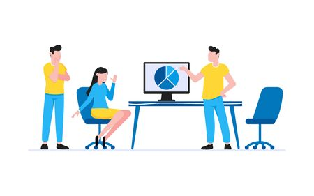 Tiny people characters working together with table and computer. Teamwork and time management concept flat style design vector illustration isolated white background.