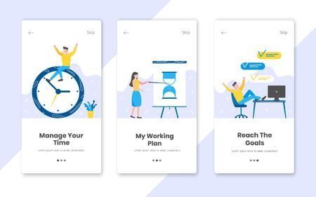 3 vertical time management banners set with work time planning flat style design vector illustration. Tiny people working at the workplace with clock, flip chart and computer. Çizim