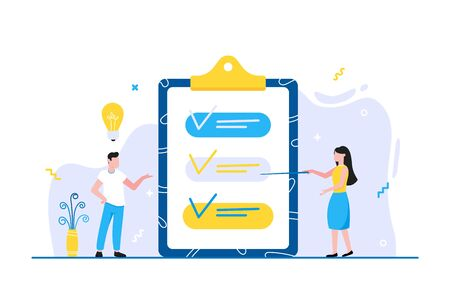 Effective Planning time management business concept. People near clipboard with ticks V check marks and lightbulb above. Business people character, flat style clipart isolated on white background.