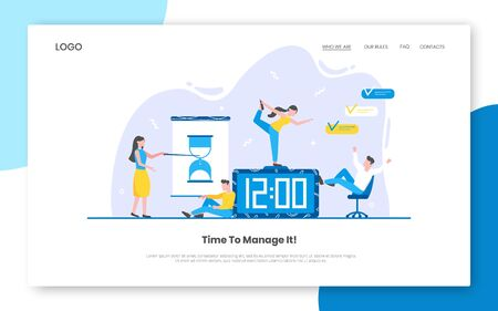 Business time management internet landing page concept template with people characters working together on calendar schedule. Teamwork concept flat style design vector illustration. Çizim