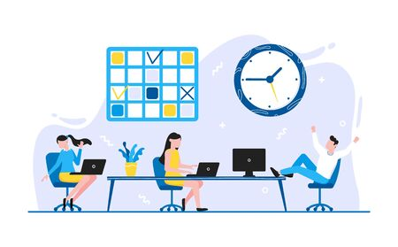 Tiny people characters working together with calendar schedule and fill out task on week schedule. Teamwork and time management concept flat style design vector illustration isolated white background.