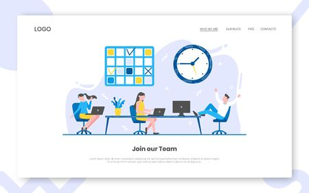 Business time management internet landing page concept template with people characters working together with calendar schedule, table and big clock. Teamwork concept flat style vector illustration.
