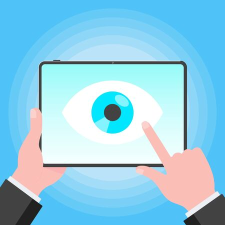 Big brother concept. Hands holding stablet pc spying with big eye on the screen isolated on light blue background flat style design vector illustration.