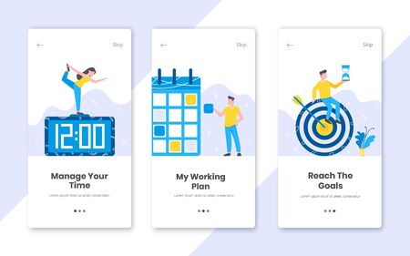 3 vertical time management banners set with work time planning flat style design vector illustration. Tiny people working at the workplace with clock, schedule planner and target.