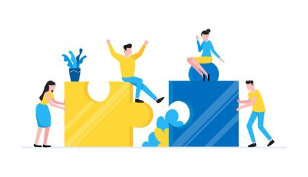 Teamwork concept with tiny people characters working together with big jigsaw puzzle pieces. Teamwork and time management concept flat style design vector illustration isolated white background. Çizim
