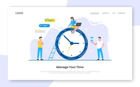 Business time management internet landing page concept template with people characters working together on near big clock. Teamwork concept flat style design vector illustration.