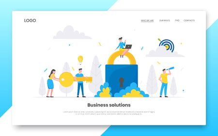 Business internet landing page concept template. Creative business people characters working together with big lock and key. Key to business success teamwork concept flat style vector illustration.