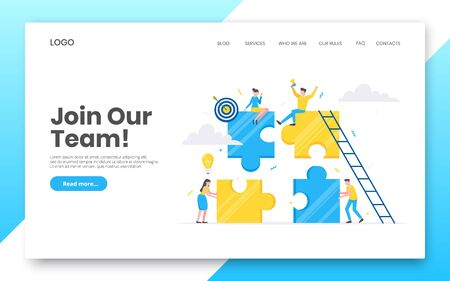 Business internet landing page concept template. Creative business people with big jigsaw puzzle pieces. Teamwork, time management concept flat style design vector illustration isolated on background.