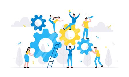 Teamwork concept with tiny people characters working together with big gears cog wheels settings icons. Teamwork and time management concept flat style design vector illustration isolated. Ilustracja