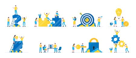 Teamwork concept with tiny people characters working together business concept elements set. Teamwork and time management concept flat style design vector illustration isolated on white background.
