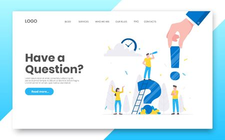 Business internet landing page concept template. Teamwork characters working together with big question mark, frequently asked questions time management concept flat style design vector illustration.
