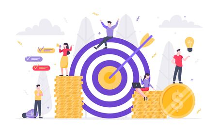 Tiny people characters working together with target, character people and money symbols. Teamwork and time management concept flat style design vector illustration isolated white background.