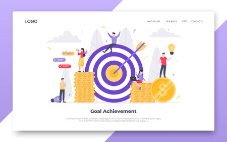 Teamwork concept with tiny people characters working together with big target and tiny people characters. Teamwork and time management concept flat style design vector illustration isolated white. Ilustração