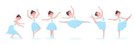Young beautiful ballerinas set dressed in tutu and pointe shoes standing at the pose flat style design vector illustration isolated on white background. Elegant young character of classic ballet. Archivio Fotografico - 137321282