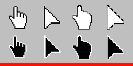 Black and white arrow pixel and pixel mouse hand cursors icon vector illustration set flat style design isolated on white background. Illustration