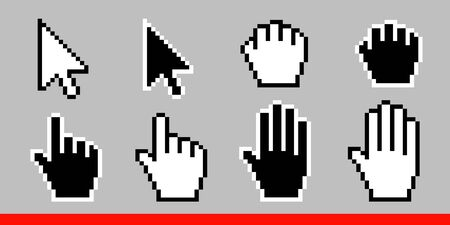 Black and white arrow pixel and pixel mouse hand cursors icon vector illustration set flat style design isolated on white background.
