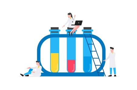 Healthcare medical science concept with tiny people doctors and big set of flasks vector illustration isolated on white background. Suitable for banners, web sites, cards. Çizim