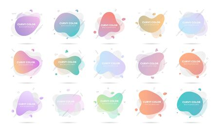15 Modern liquid abstract element graphic gradient flat style design fluid pastel colors vector illustration set banner simple shape template for presentation, flyer, isolated on white background.