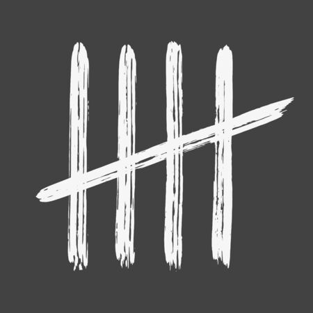 Five chalk tally marks on white board hand drawn dirty art style vector illustration isolated on dark background.
