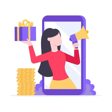 Refer a friend flat style design vector illustration isolated on white background. Woman with megaphone and gift box standin up in the smartphone and shout out. Social media ad concept symbols.