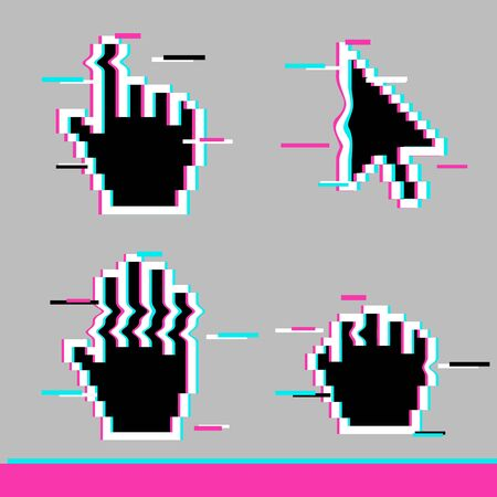 Black pixel glitch mouse hand and arrow cursor icon sign set flat style design vector illustration isolated on white background