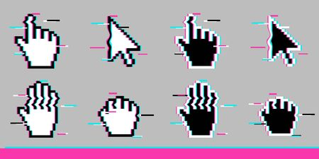 Black and white pixel glitch mouse hand and arrow cursor icon sign set flat style design vector illustration isolated on white background Ilustrace