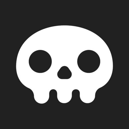 Simple flat style design skull icon sign vector illustration isolated on black background.