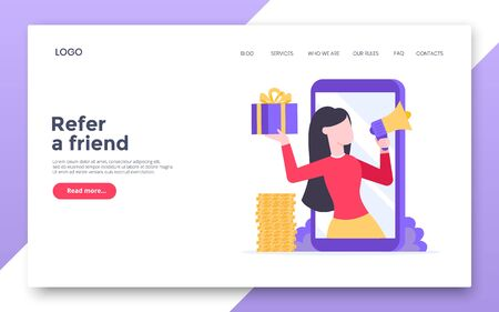 Refer a friend flat style design vector illustration landing page concept. Woman with megaphone and gift box standin up in the smartphone and shout out to the people. Ilustrace