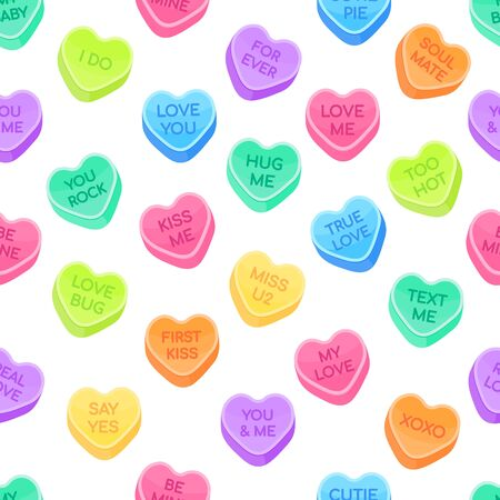 Sweethearts candy set flat style design vector illustration isolated on white background seamless pattern. Sweet heart shape candy with inspiration conversations text candy. Valentine day symbols.
