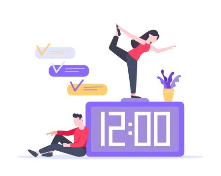 Tiny people characters working together teamwork and time management concept flat style design vector illustration isolated white background.