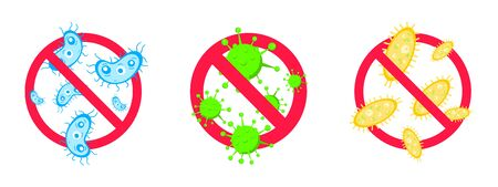 3 stop viruses and bad bacterias or germs prohobition sign. Big viruses or gems in the red stop defence circle flat style design vector illustration isolated on white background.