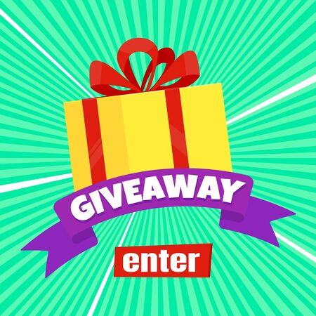 Giveaway gift concept for winners in social medias flat style design vector illustration. Internet give away poster for bloggers prize announcement random quizes flyer leflet on rays background. Ilustración de vector