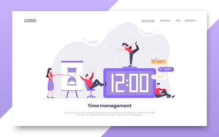 Tiny people characters working together with clock, character people. Teamwork and time management concept flat style design vector illustration isolated white background.