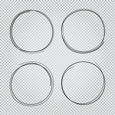 4 hand drawn scribble circles set isolated on transparent background doodle vector illustration. Pencil or pen round circle for notes marks draft.