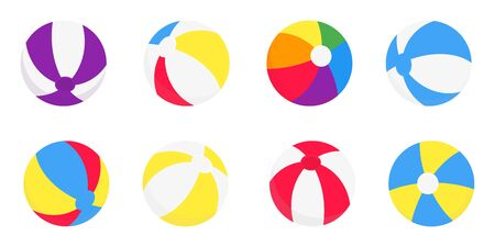 Beach balls flat style design vector illustration icon signs isolated on white background. Retro styled toy for summer games or holidays balls in various colors and positions.