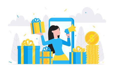 Online reward flat style design vector illustration landing page concept. Woman with megaphone and gift box standin up in the smartphone and shout out to the people.