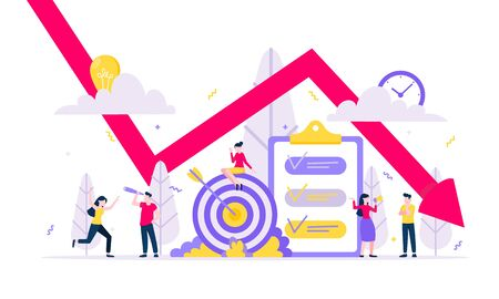 Bankruptcy or world financial crisis economic downturn. Red arrow falling down with tiny people. who lossing profit in business flat style design vector illustration isolated on white background. Vettoriali