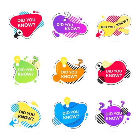 Did you know abstract shape badges set, lightbulb and megaphone speaker label flat style design vector illustration isolated on white background. Interesting facts or quiz knowledge badge.