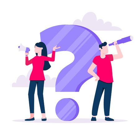Q and A concept with tiny man people character with big question, exclamation mark, frequently asked questions concept. Question answer business support web page flat style design vector illustration. Иллюстрация