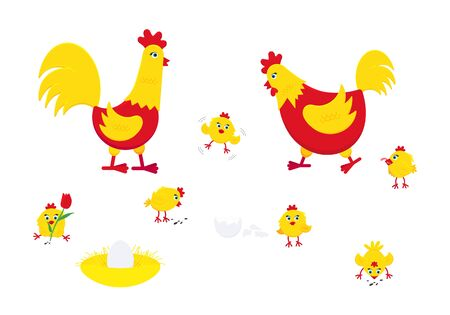 Yellow and red chicken with broken egg, nest, set of chicks and a rooster cock flat style design vector illustration. Chicken farming poultry symbol signs. Domestic bird isolated on white background. Stock Illustratie