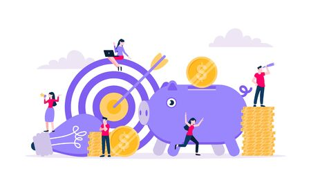 Fundraising composition concept of crowdfunding. Piggy bank with coins money currency, target and light bulb with tiny people characters flat style design vector illustration isolated white background