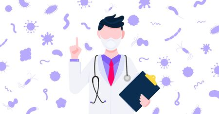 Vaccination banner concept flat style design poster. Male man doctor employee on it holding clipboard and arounded with microbes and viruses. Medical awareness flu, polio influenza banner. Illusztráció