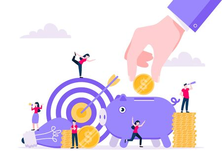 Crowdfunding composition concept of fundraising. Piggy bank with coins money currency, target and light bulb with tiny people characters flat style design vector illustration isolated white background