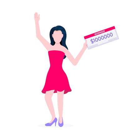 Happy lottery winner with prize paycheck. Fortune lottery or casino gambling lucky games concept flat style design vector illustration isolated white background. Woman standing up with check.