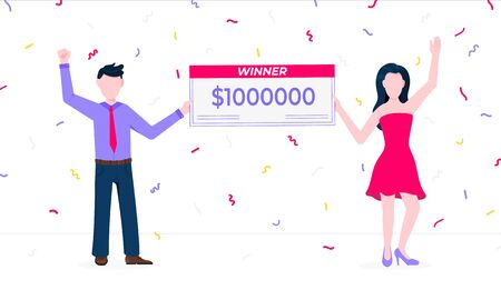 Happy lottery winners with prize paycheck. Fortune lottery or casino gambling lucky games concept flat style design vector illustration isolated white background. Man and woman standing up with check. Standard-Bild - 146378920