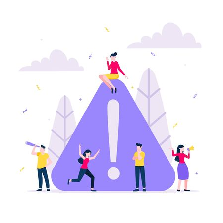 Attention please concept vector illustration with tiny people with big attention sign. Digital marketing, advertising, business promotion, important announcement flat design vector composition.