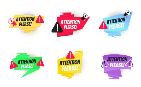 Attention please big banner ribbon speech bubble set with text badge label flat style design vector illustration collection isolated on white background. Pay attention, please.