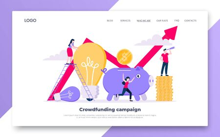 Crowdfunding composition concept of fundraising. Piggy bank with coins money currency and light bulb with tiny people characters flat style design vector illustration isolated white background