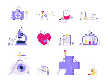 Healthcare medical science concepts set with tiny people doctors and medicine equipment working together flat style design vector illustration isolated on white background. Medical research laboratory