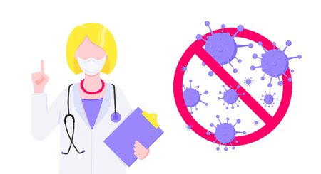 Stop virus vaccination banner concept flat style design poster. Doctor employee on it holding clipboard with stop viruses sign isolated on background. Medical awareness flu, polio influenza banner. Illusztráció